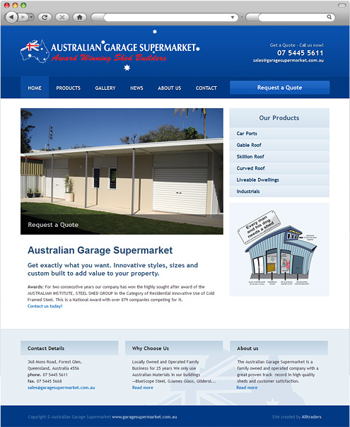 Australian Garage Supermarket homepage