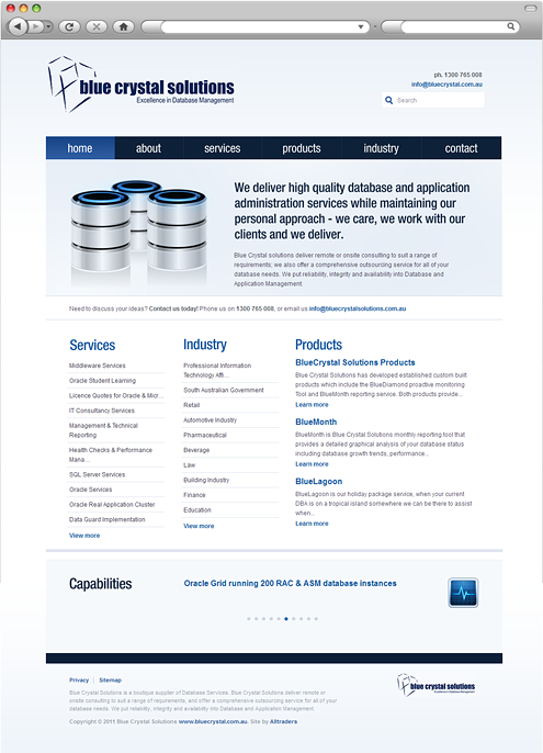Blue Crystal Solutions homepage
