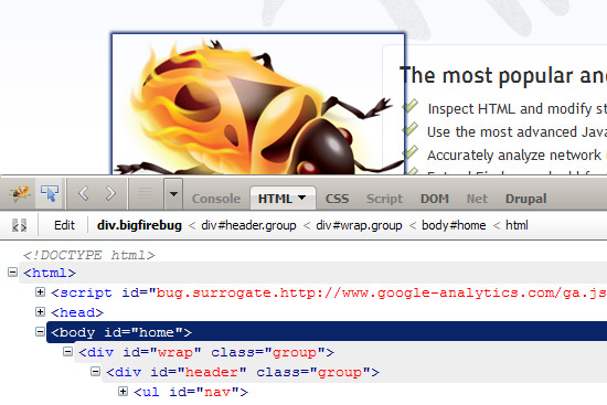 FireFox Firebug in use on the Firebug homepage - Adelaide Joomla User Group