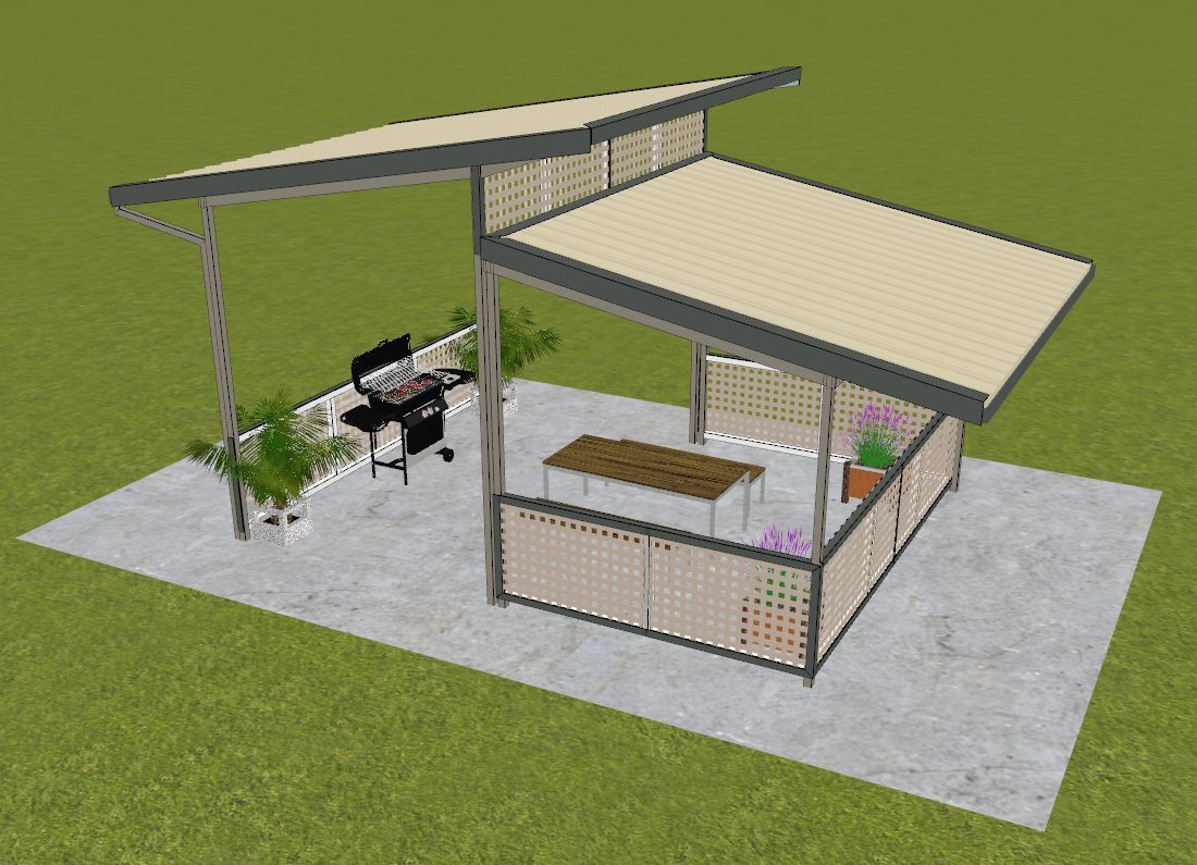 Back to back single pitch structures w/insulated roof/ceiling panels and fibre cement infills