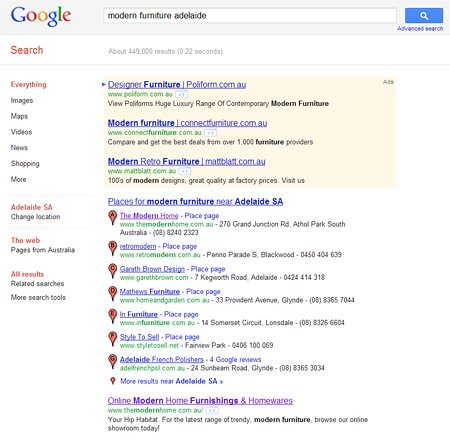Modern furniture adelaide Google Result screenshot
