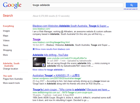 Touge adelaide Google Search Result
